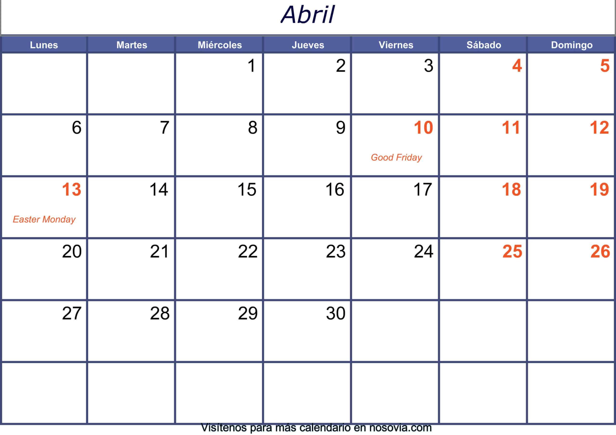 Calendario abril 2020 con festivos para imprimir