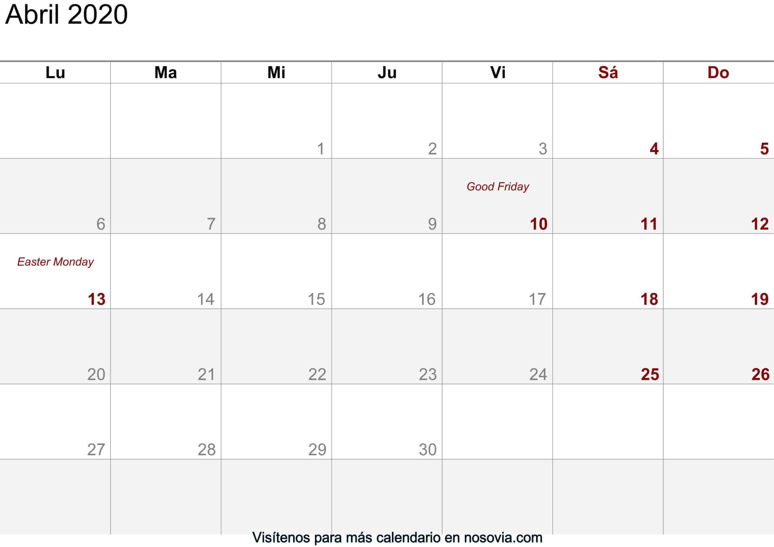 Calendario abril 2020 imágenes para imprimir