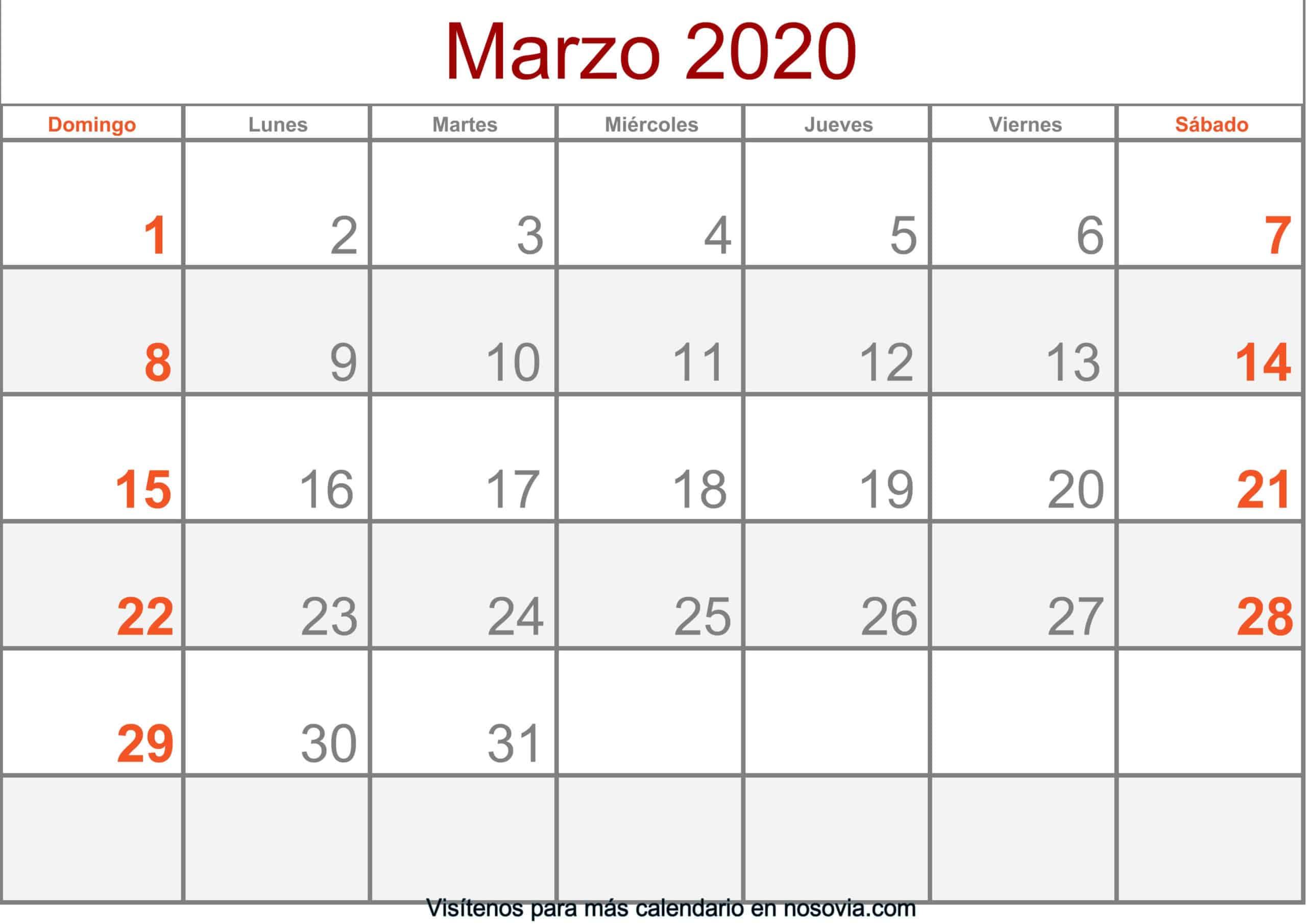 Calendario marzo 2020 Con Festivos Formato