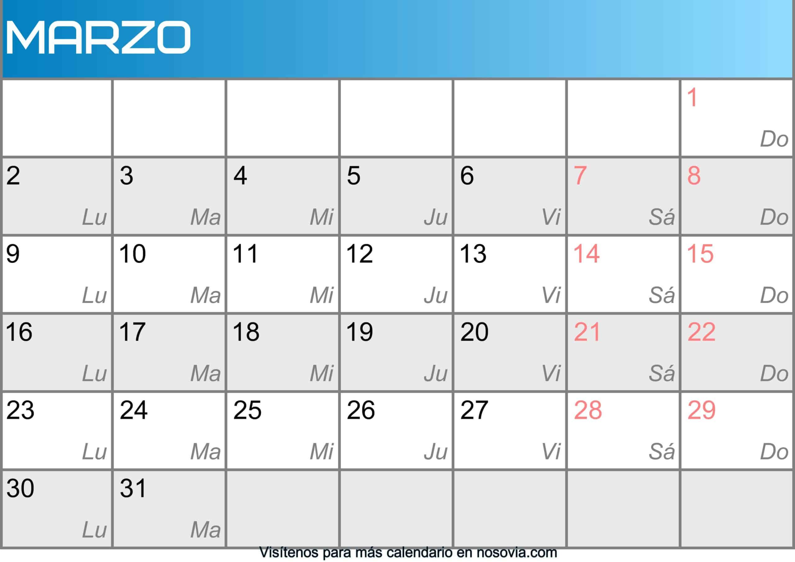 Calendario marzo 2020 Con Festivos Imágenes