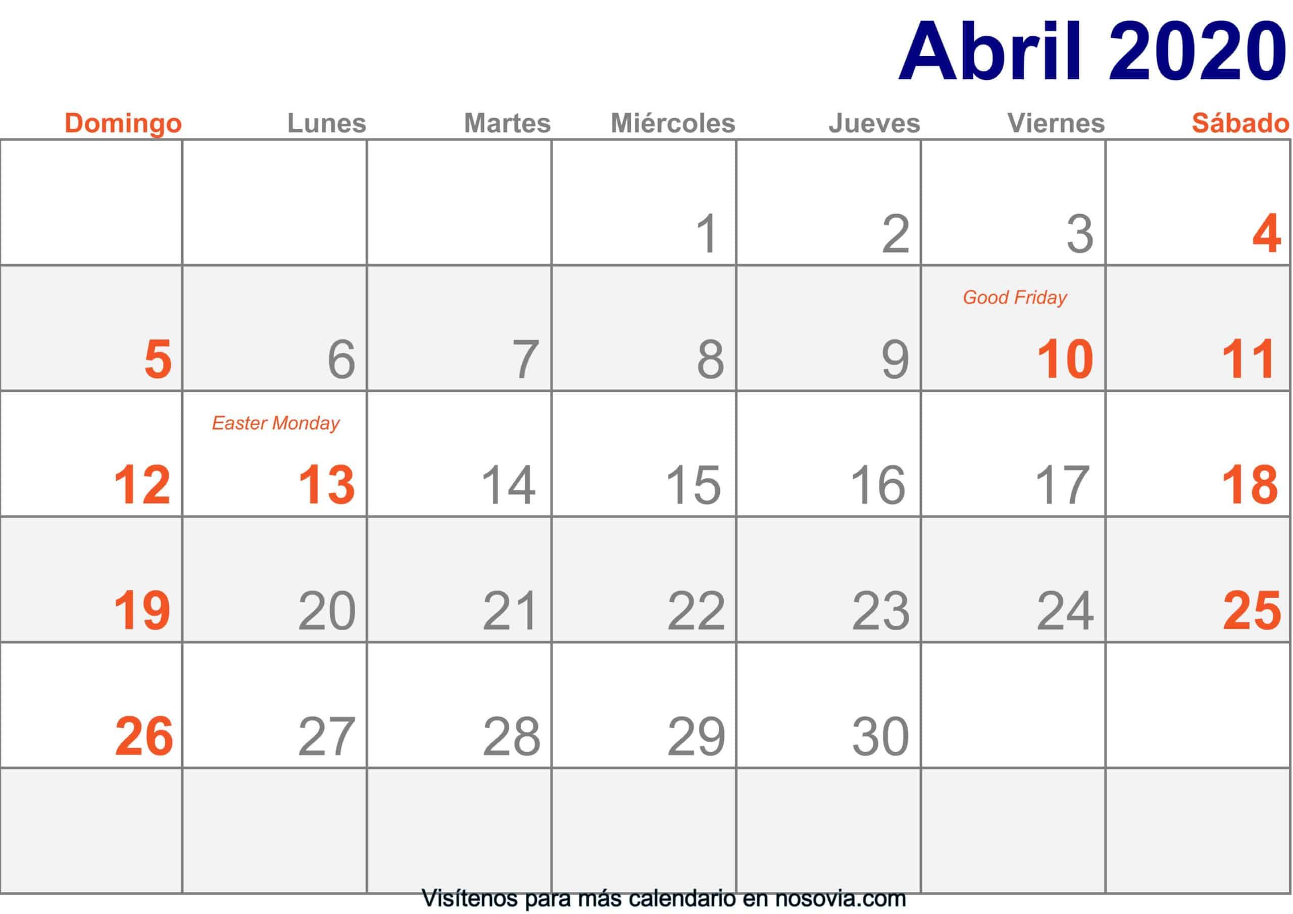 Calendario marzo 2020 Con Festivos Imprimir