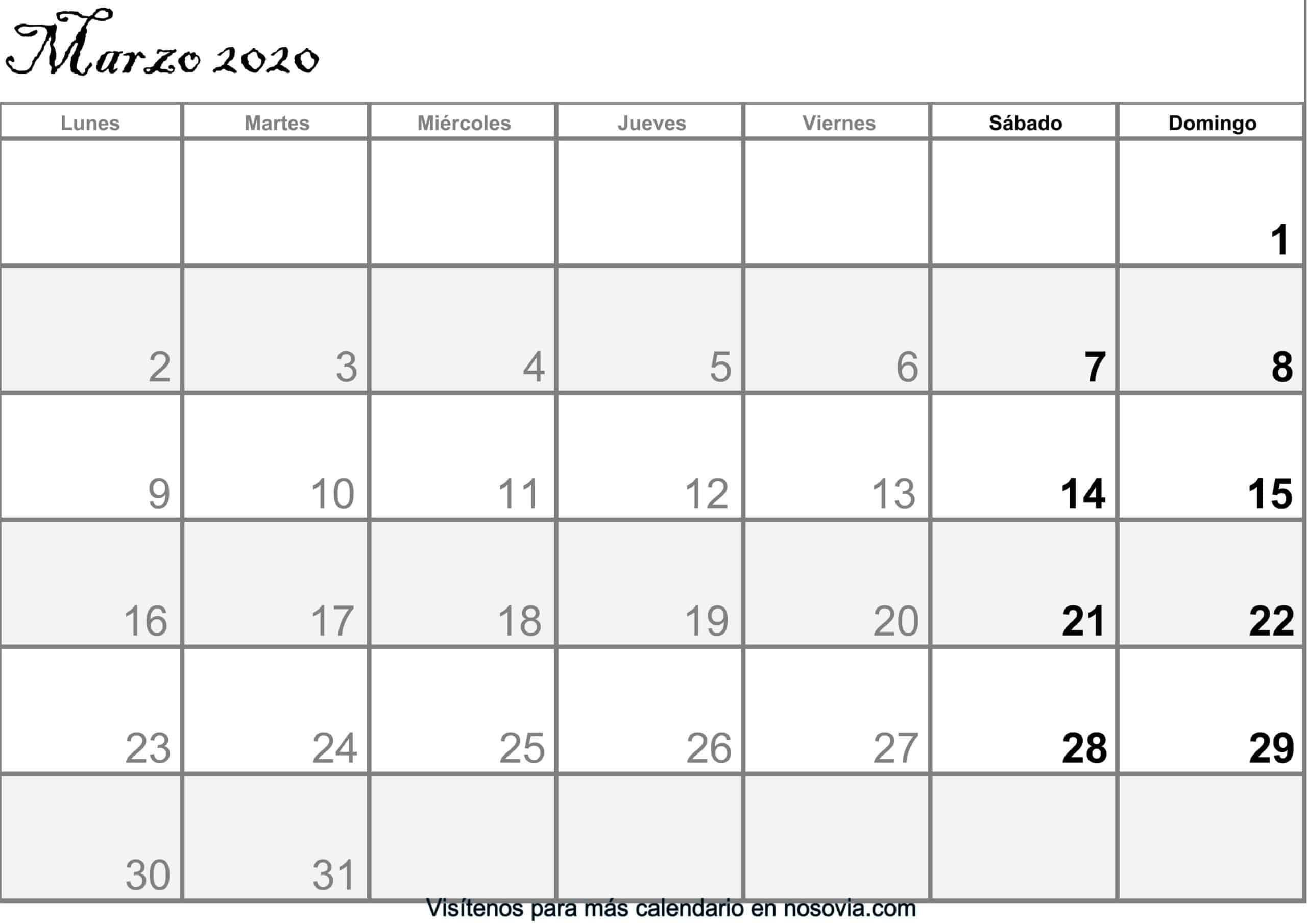 Calendario marzo 2020 Con Festivos PDF