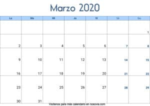 Calendario marzo 2020 Con Festivos Palabra