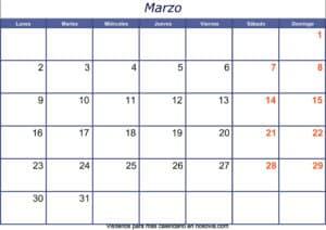 Calendario marzo 2020 con festivos para imprimir