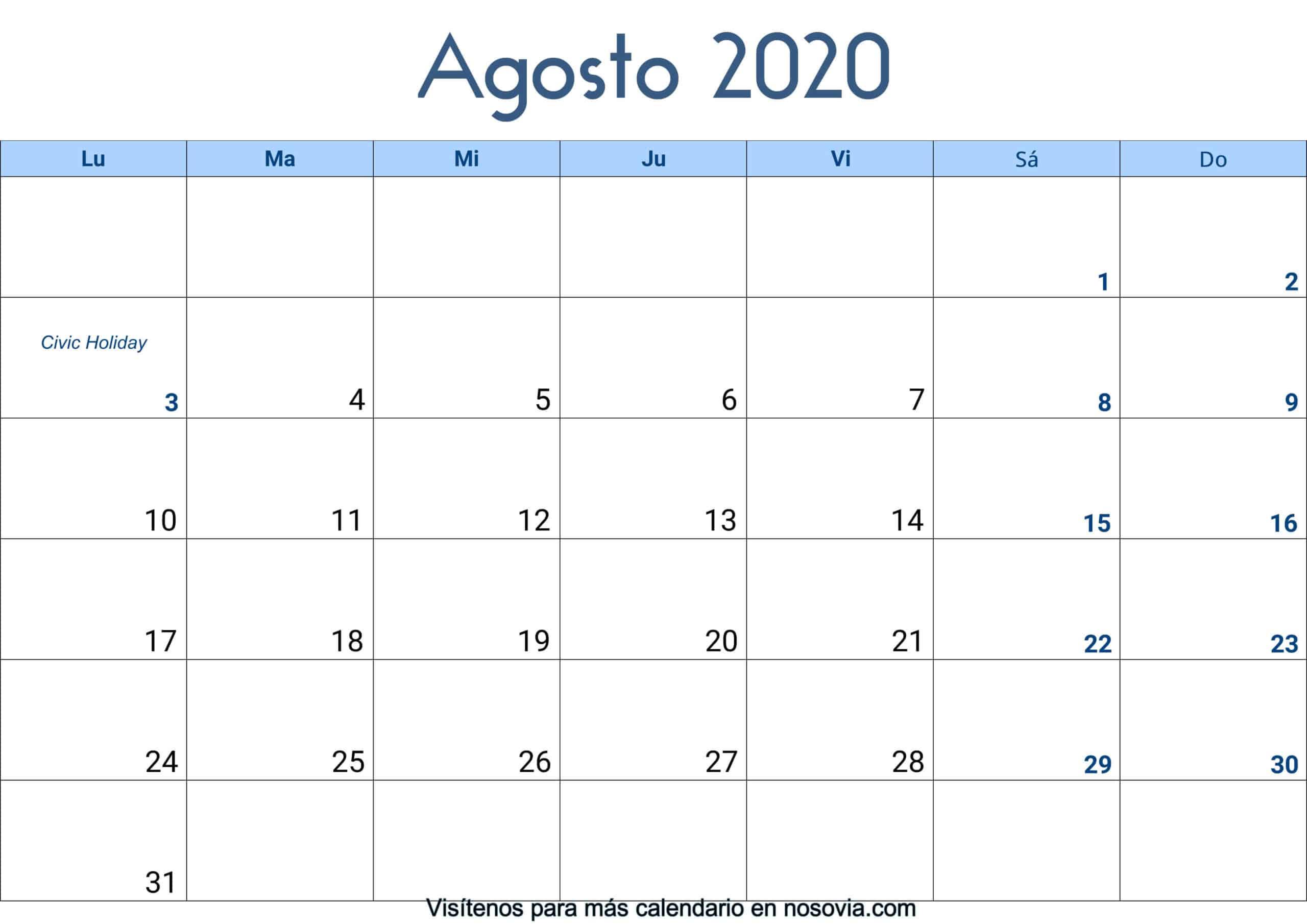Calendario-agosto-2020-Con-Festivos-Palabra