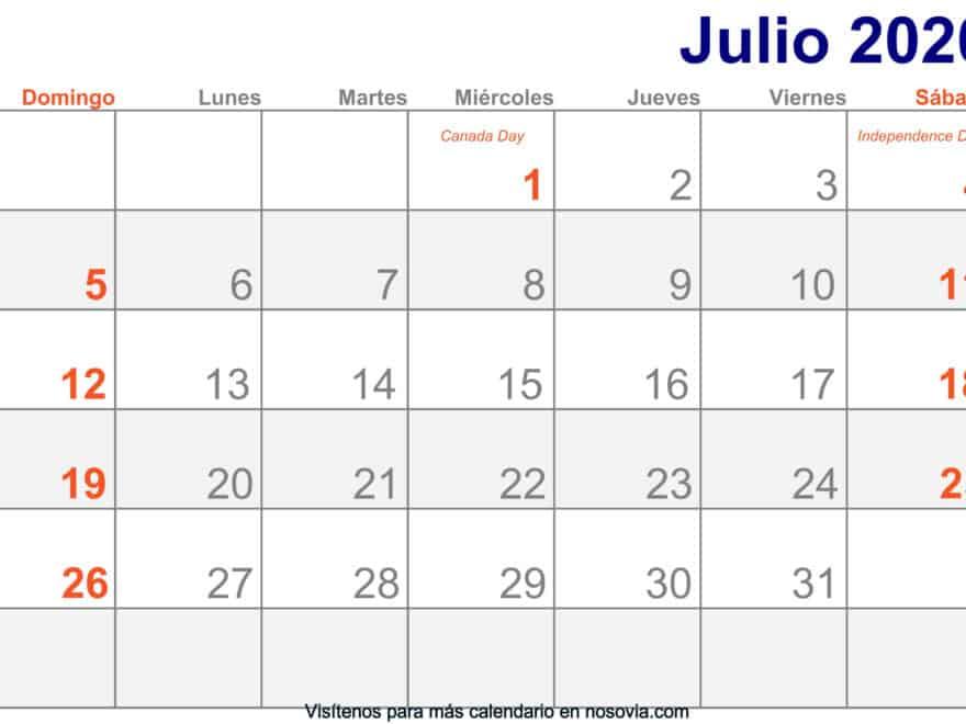 Calendario-julio-2020-Con-Festivos-Imprimir