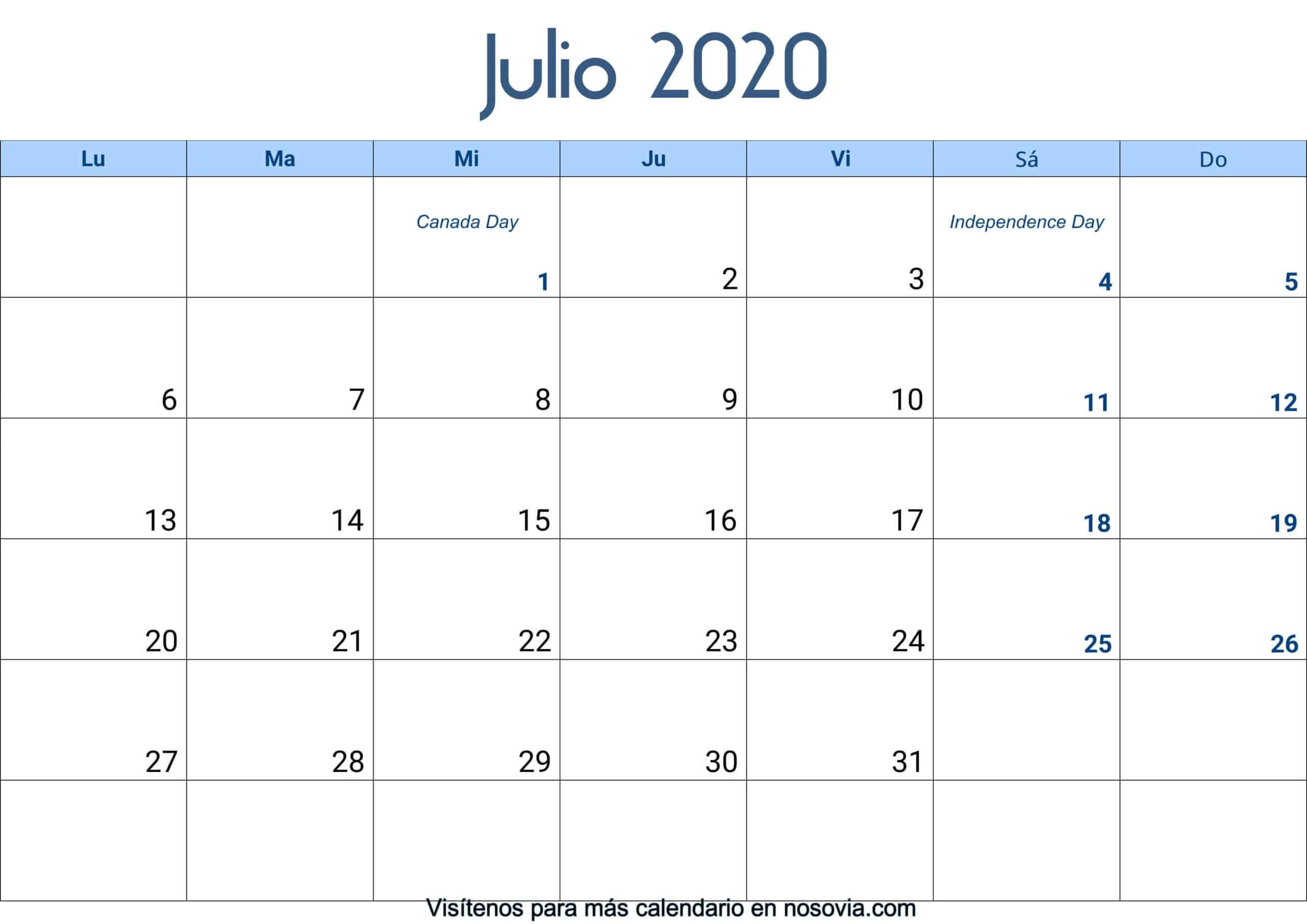 Calendario-julio-2020-Con-Festivos-Palabra