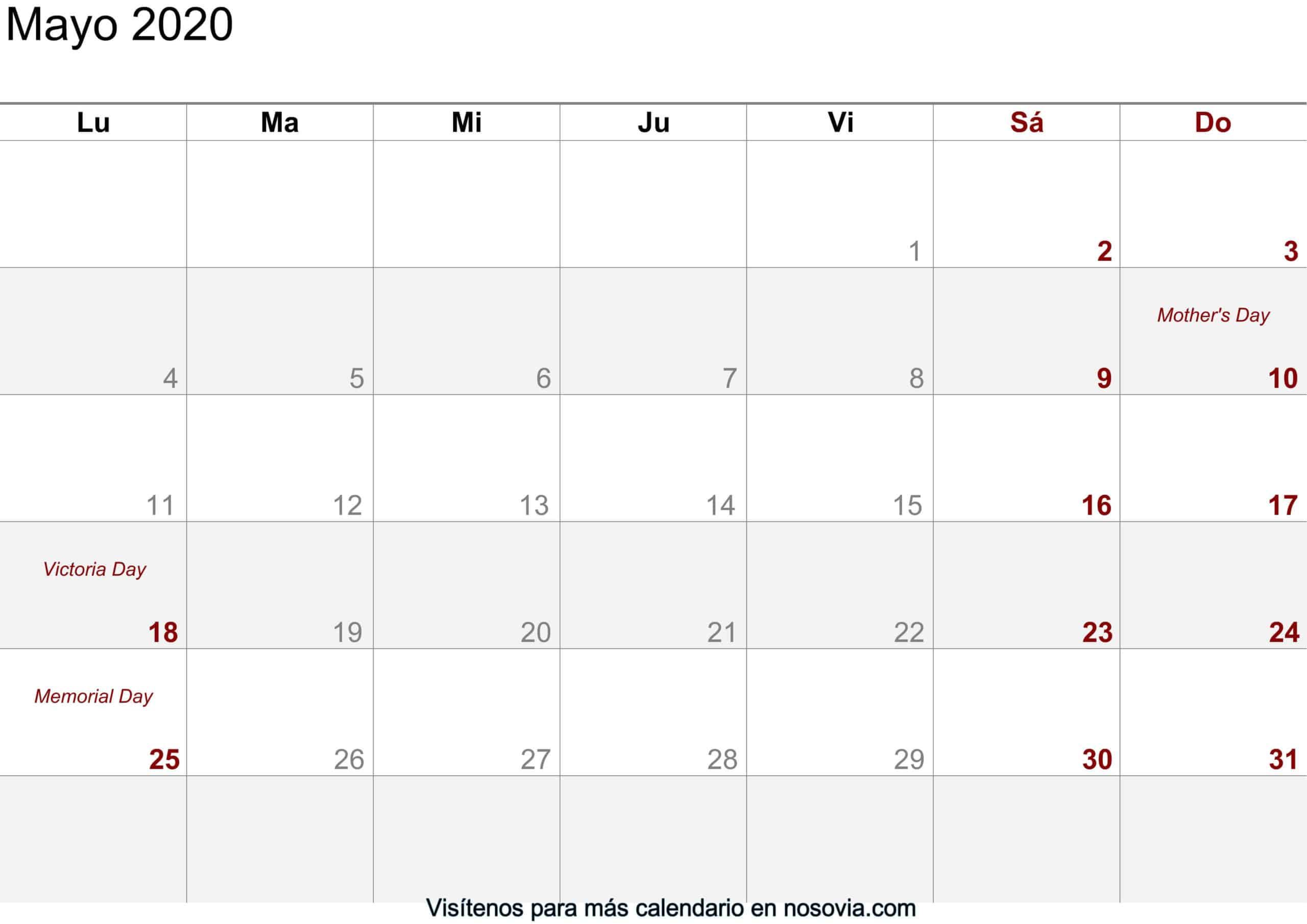Calendario-mayo-2020-imágenes-para-imprimir gratis