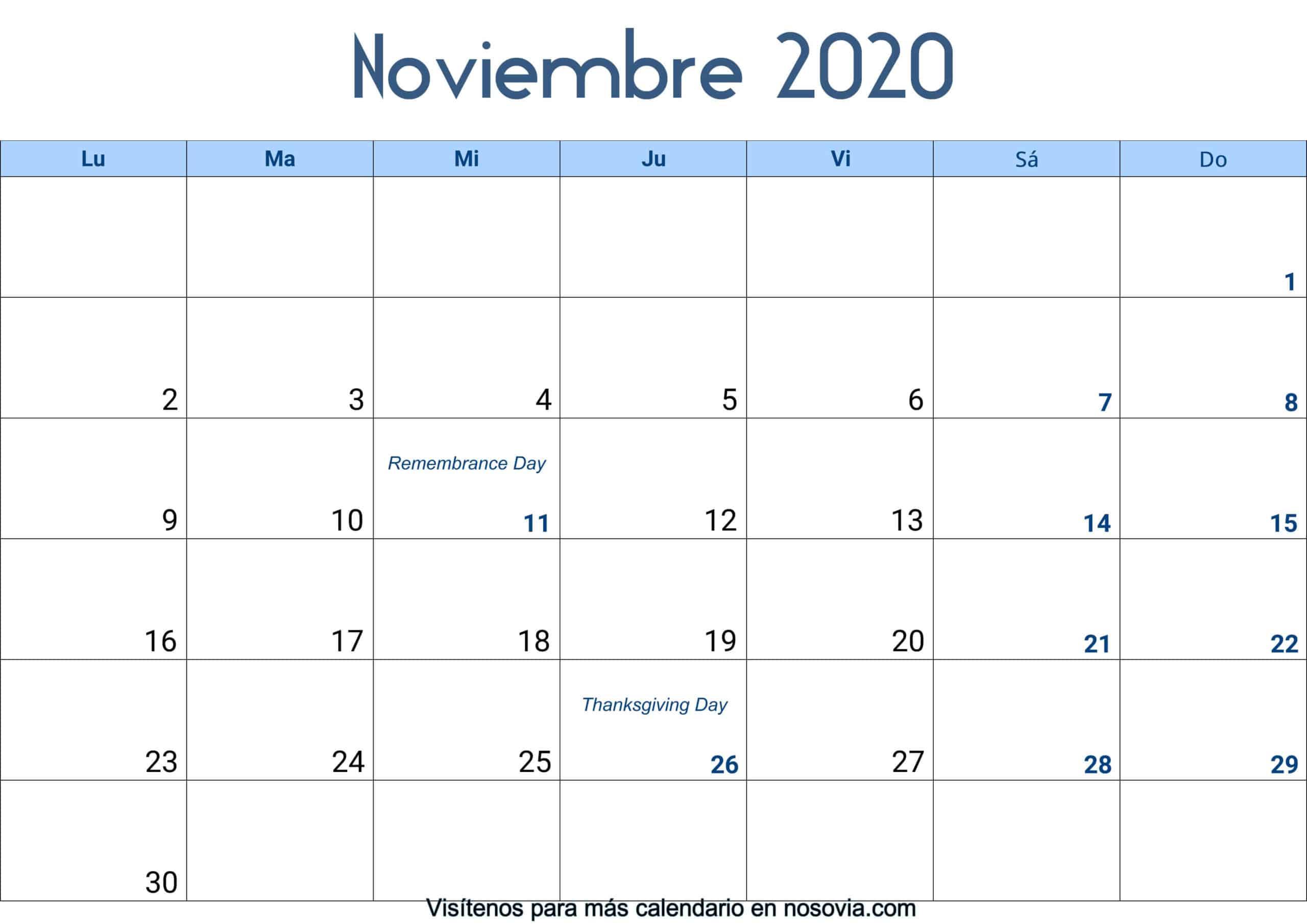 Calendario-noviembre-2020-Con-Festivos-Palabra