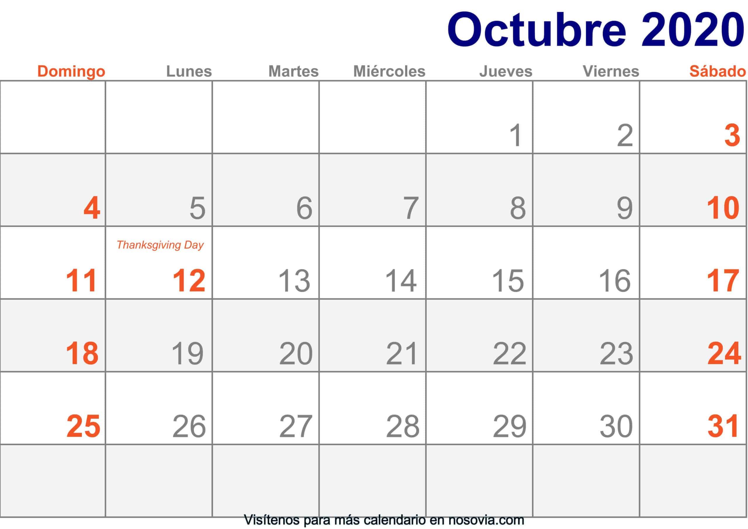 Calendario-octubre-2020-Con-Festivos-Imprimir