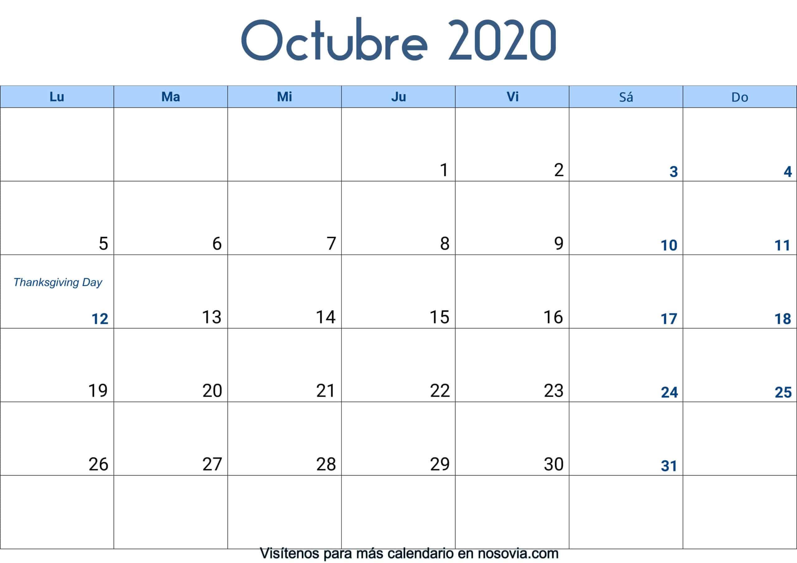 Calendario-octubre-2020-Con-Festivos-Palabra